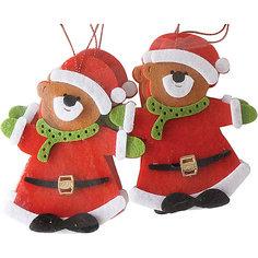 """Набор подвесок """"Мишка"""" 10 см, красные Новогодняя сказка"""