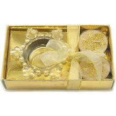 Набор подсвечник, 2 свечи, золото Новогодняя сказка