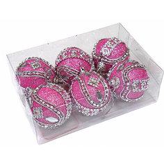 Набор шаров 5 см, 6 шт, розовые, пенопласт Новогодняя сказка
