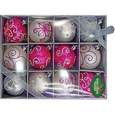 Набор шаров 6 см, 12 шт, серебро, розовый Новогодняя сказка