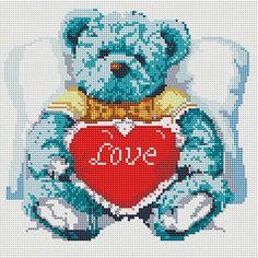 """Мозаика на подрамнике """"Медвежонок с сердцем"""" Белоснежка"""