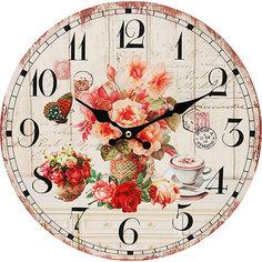 """Часы настенные """"Розы и кофе"""", диаметр 34 см Белоснежка"""
