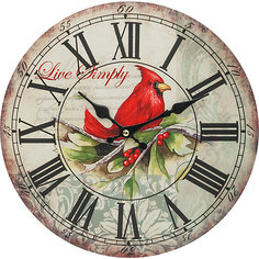 """Часы настенные """"Красный кардинал"""", диаметр 34 см Белоснежка"""