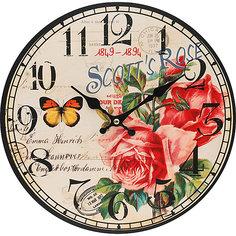 """Часы настенные """"Розовый куст"""", диаметр 34 см Белоснежка"""