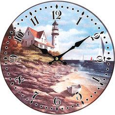 """Часы настенные """"На берегу моря"""", диаметр 34 см Белоснежка"""
