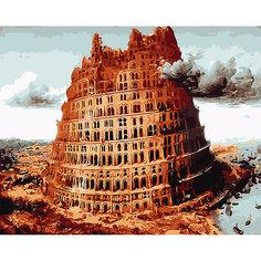 """Холст с красками по номерам """"Вавилонская башня"""" 40х50 см Рыжий кот"""