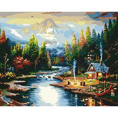 "Холст с красками по номерам ""Дом на берегу реки"" 40х50 см Рыжий кот"