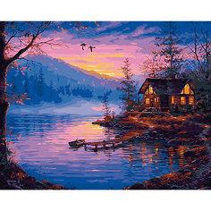 """Холст с красками по номерам """"Закат на озере"""" 40х50 см Рыжий кот"""