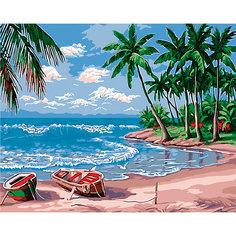 """Холст с красками по номерам """"Райский остров"""" 40х50 см Рыжий кот"""
