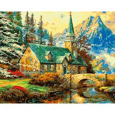 "Холст с красками по номерам ""Усадьба в горах"" 40х50 см Рыжий кот"