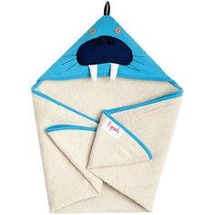 Полотенце с капюшоном Морж (Blue Walrus), 3 Sprouts