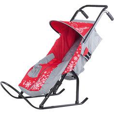 Санки-коляска ABC Academy Снегурочка 2P-1,серый/красный