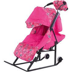Санки-коляска ABC Academy Зимняя Сказка 3В, черная рама, розовый/снежинки