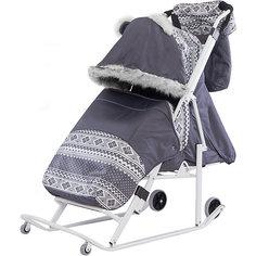Санки-коляска ABC Academy Скандинавия 2УМ большие колеса, белая рама, серый