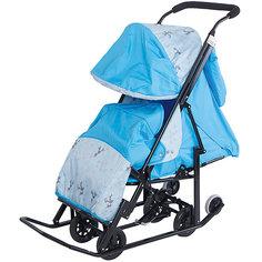Санки-коляска ABC Academy Зимняя Сказка 2 Люкс, черная рама, голубой/олень