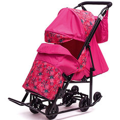 Санки-коляска ABC Academy Зимняя Сказка 2 Люкс, черная рама, розовый/снежинки
