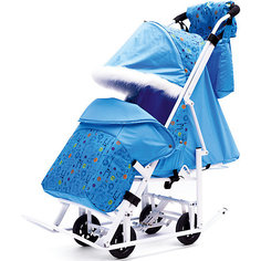 Санки-коляска ABC Academy Зимняя Сказка 5М Люкс, белая рама, голубой/зоопарк