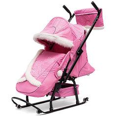 Санки-коляска Овелон Северая Фантазия 08-К2, 01-P10, розовый