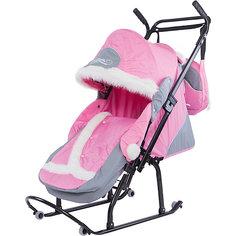 Санки-коляска Овелон Северая Фантазия 08-К1, 06-P12, розовый/серый