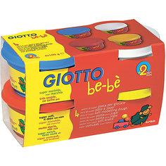 Мягкая паста для моделирования - аналог соленого теста, 4шт х 100 г, красный, синий, белый, желтый. Giotto Bebe