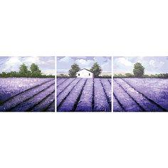 """Роспись по номерам, триптих """"Лавандовое поле"""" 50*50 см (3 картины в наборе) Tukzar"""