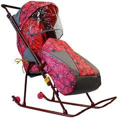 Санки-коляска Galaxy Снежинка премиум, снежинки/розовый