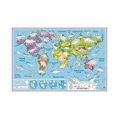 """Карта-раскраска настенная карта мира """"Динозавры"""" Бумбарам"""