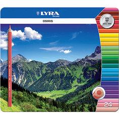 Цветные треугольные карандаши в металлическом пенале, 24 шт. Lyra