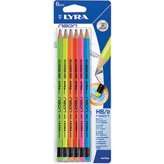 Чернографитные карандаши, лакированные неоновые с ластиком 6 шт (Мягкость HB) Lyra