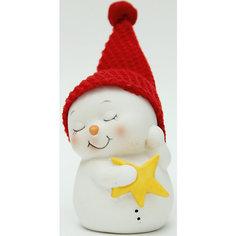 """Новогодняя фигурка снеговика """"Снеговик со звездой""""  (8см, керамика) Феникс Презент"""