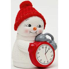 "Новогодняя фигурка снеговика ""Снеговик и часы""  (8см, керамика) Феникс Презент"