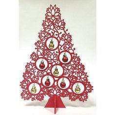 Новогодняя ель из МДФ красная (34 см) Феникс Презент