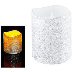 Светодиодная свеча, серебрянная с блестками Tukzar