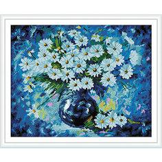 """Алмазная мозаика по номерам """"Ромашки на синем"""" 40*50 см (на подрамнике) Tukzar"""