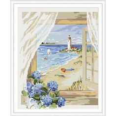 """Алмазная мозаика по номерам """"Вид из окна: маяк у моря"""" 40*50 см (на подрамнике) Tukzar"""