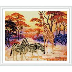 """Алмазная мозаика по номерам """"Жираф и зебры"""" 40*50 см (на подрамнике) Tukzar"""