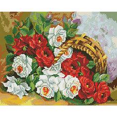 """Алмазная мозаика """"Корзинка с бархатными розами"""" 40*50 см Tukzar"""