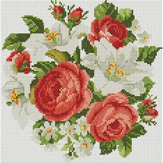 """Алмазная мозаика """"Букет: красное и белое"""" 30*30 см Schreiber"""