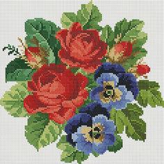 """Алмазная мозаика """"Букет: красное и синее"""" 30*30 см Schreiber"""
