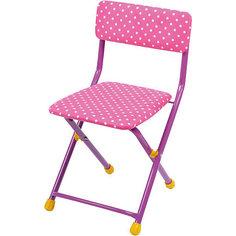 """Складной стул с мягким сиденьем """"КУ1"""" Горошек, Ника, розовый Nika"""