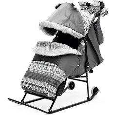 Санки-коляска Скандинавия 2УВ Авто, черная рама, ABC Academy, серый