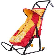 Санки-коляска Скользяшки Снегурочка 2P-1, с колесами, ABC Academy, желтый/красный