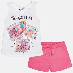 Комплект: футболка с длинным рукавом и шорты для девочки Mayoral