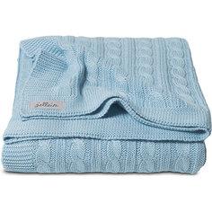 Вязаный плед (косичка) 75х100 см, Jollein, Light blue