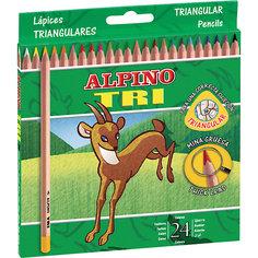 Цветные трехгранные карандаши TRI, 24 цв. Alpino