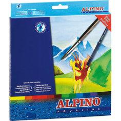 Цветные шестигранные акварельные карандаши AQUALINE, 24 цв. + кисточка Alpino