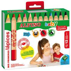 Цветные карандаши  baby, 12 цв. + точилка Alpino