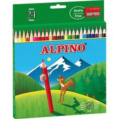 Цветные шестигранные карандаши, 24 цв. + точилка Alpino