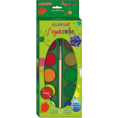 Акварельные краски, 12 цв. + кисточка Alpino
