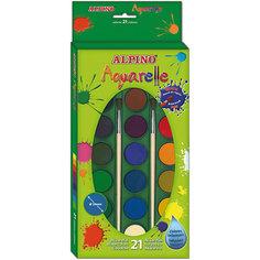 Акварельные краски, 21 цв. + 2 кисточки Alpino